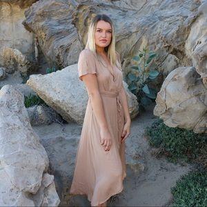 Dresses & Skirts - tan wrap dress